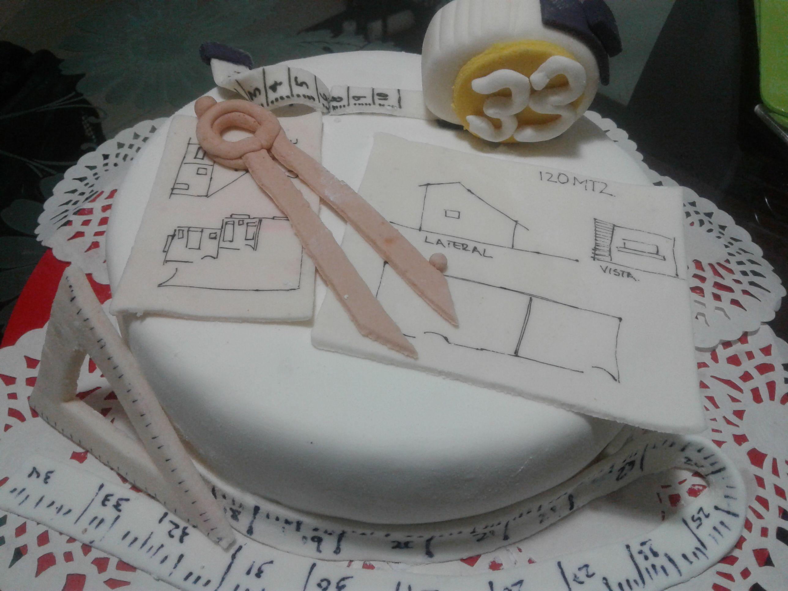 hermoso pastel de cumpleaos para un arquitecto