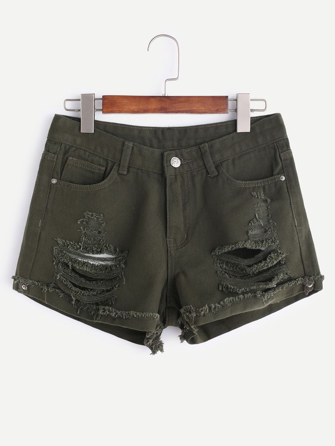 8c47ba16056a Shein Distressed Frayed Cuffed Denim Shorts   Products   Denim ...