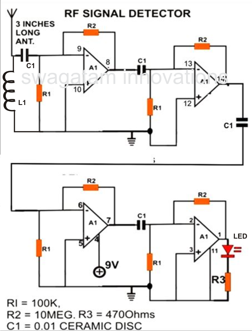 a simple cellphone rf signal detector circuit project is