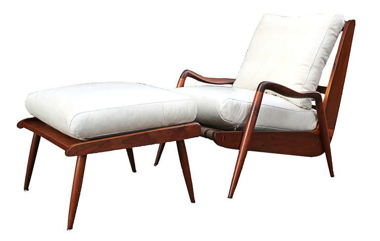 New Hope Lounge Chair and Ottoman by Phillip Lloyd Powell (1919-2008). c. 1960