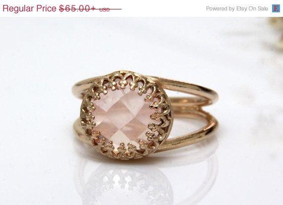 Valentines Day Sale Rose quartz ring rose gold ring love stone