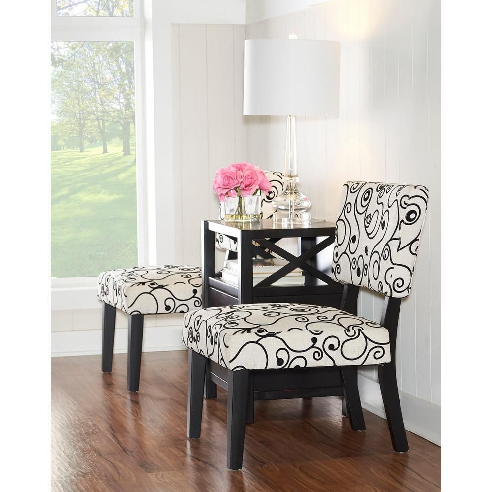 Black And White Accent Chair Taylor Black And White Accent Chair Dark Brown Wood Products