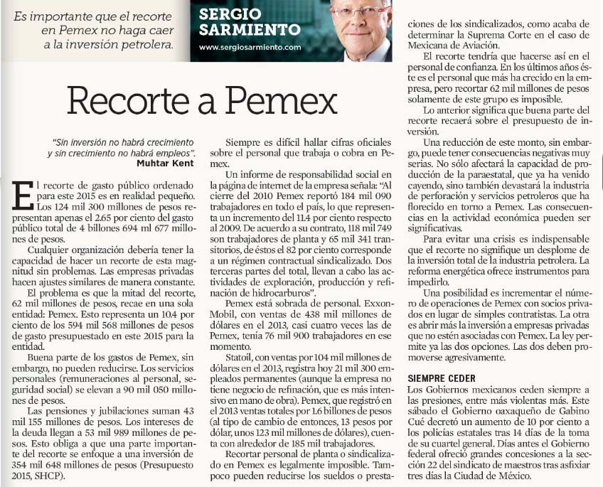 Recorte a Pemex 16 feb 2015 Fuente: El Norte