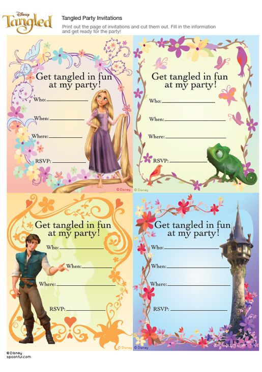 Tangled Party Invitations FREE download Rorys 4th Birthday Party