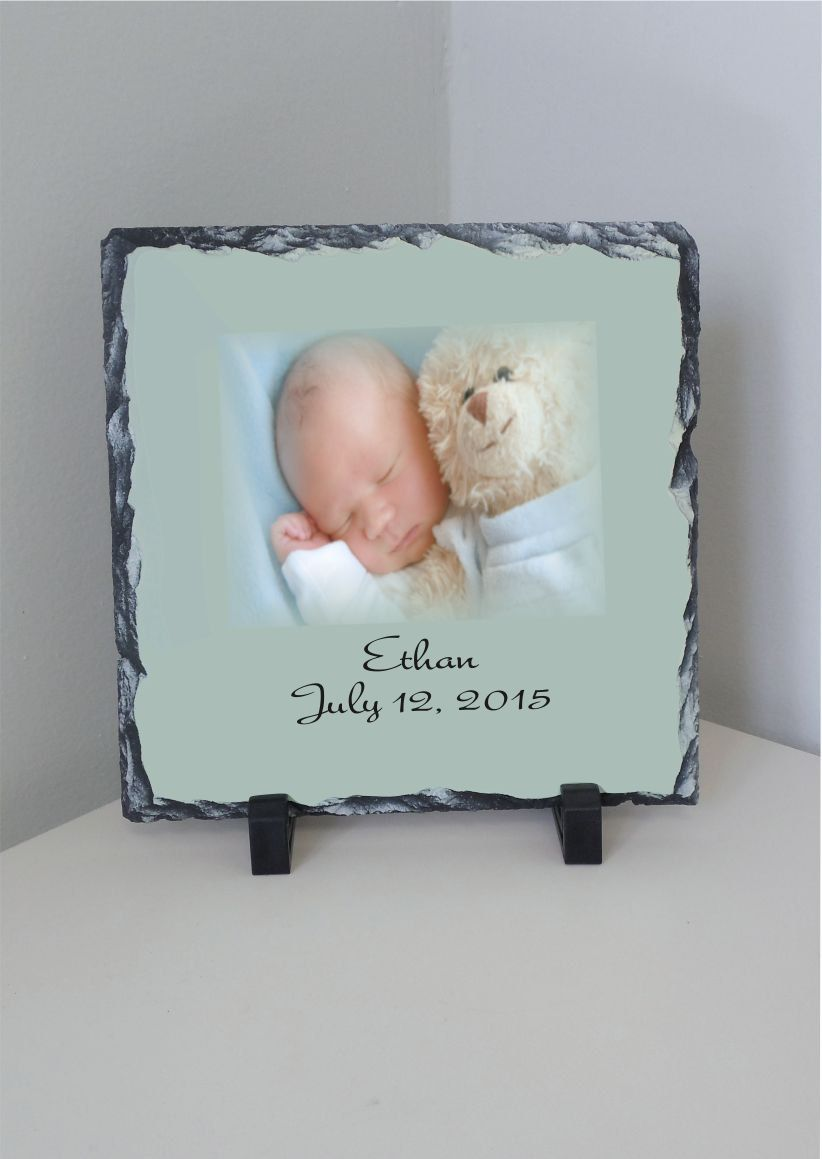 Beautiful Newborn Photo Slate Newborn Plaque Sublimated