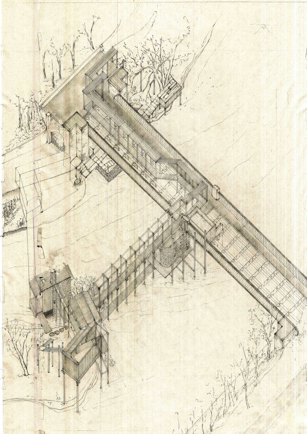 architectural drawings of bridges. Drawing ARCHITECTURE | Lesley Sjafei, Elderly Bath House Under The Bridge. Architectural Drawings Of Bridges D