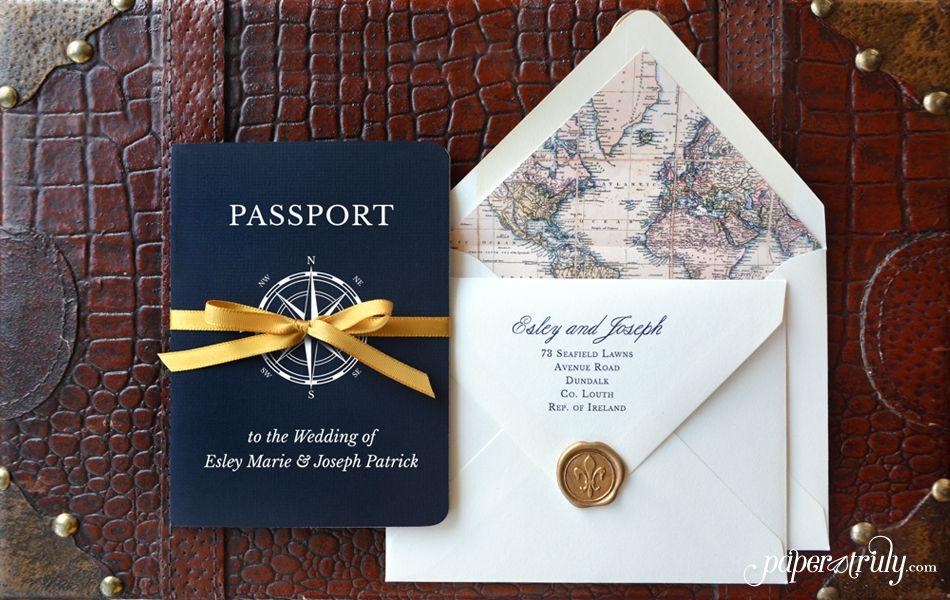 Come Away With Me Passport Wedding Invitation – Passport Style Wedding Invitation