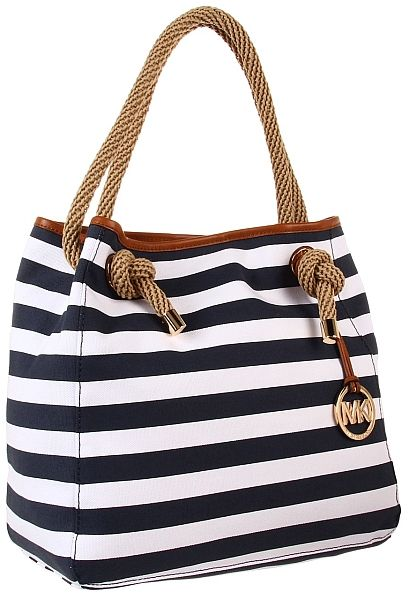 97fefd9c16893c MICHAEL Michael Kors Marina Large Grab Bag Navy White Striped Canvas ...