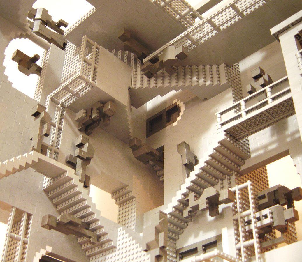 "Lim's Lego rendering of M.C. Escher's ""Relativity"" stairways."