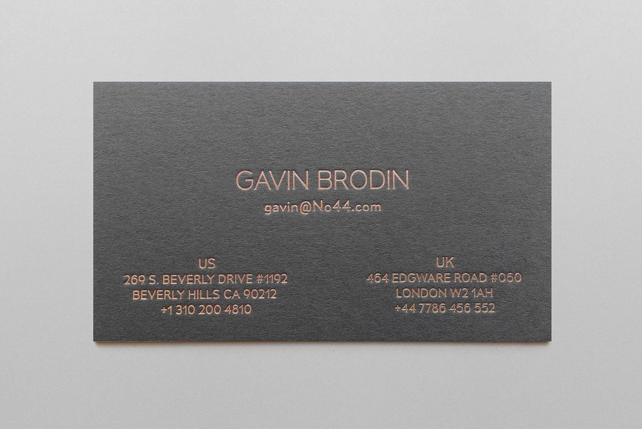 Copper foil and grey substrate business card for No.44 by Turnstyle ...