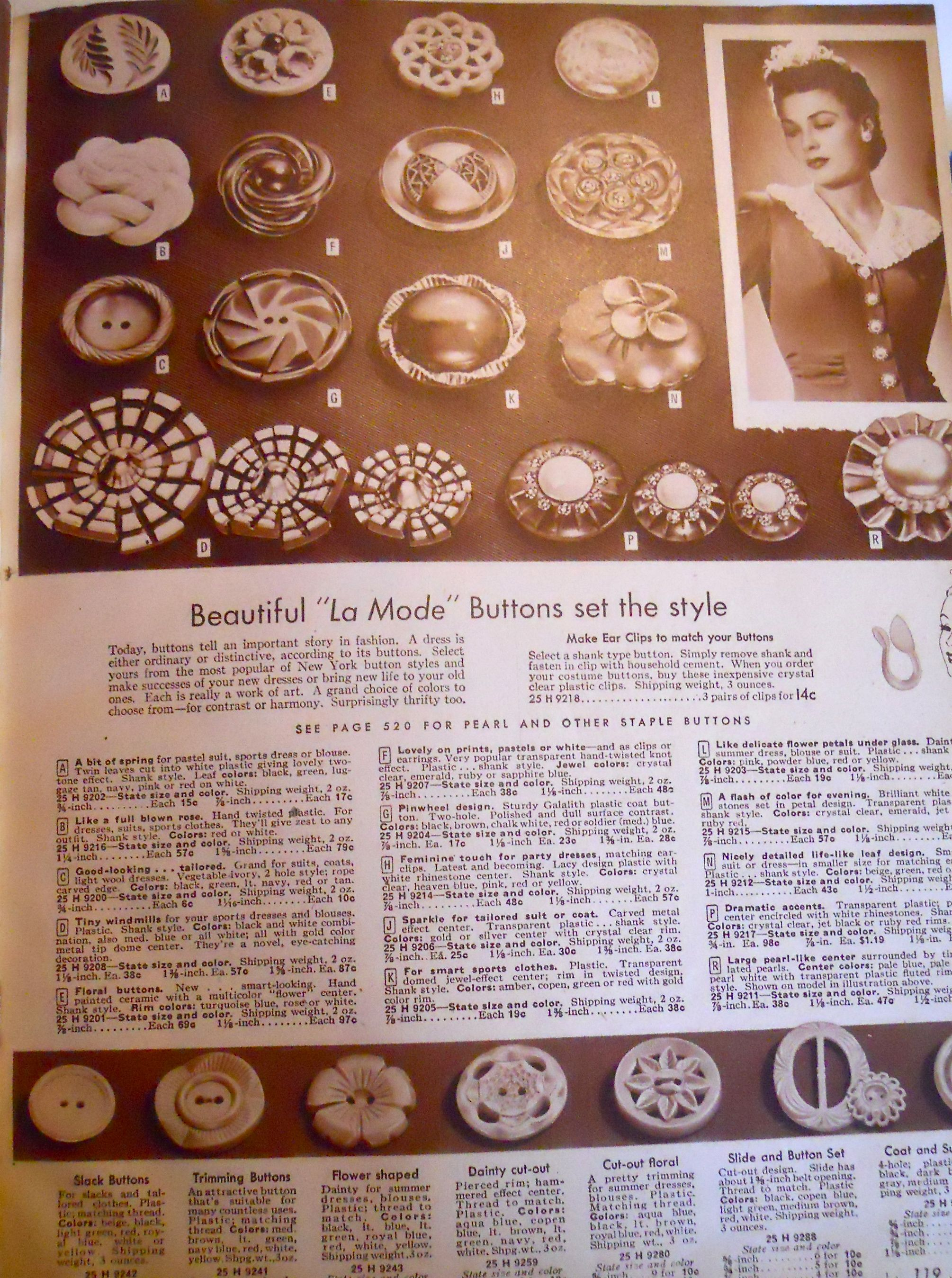 WWII era buttons, Sears catalog | WWII | Pinterest | History