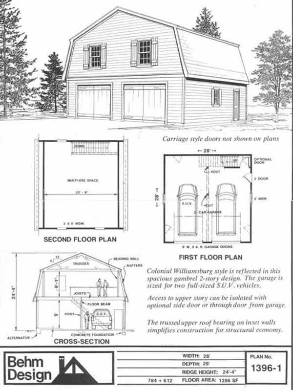 Oversized 2 Car Steep Roof Pdf Garage Plan With Loft 1396 1 28 X 28 By Behm Designs Garage De Maison Deco Garage Idee Garage