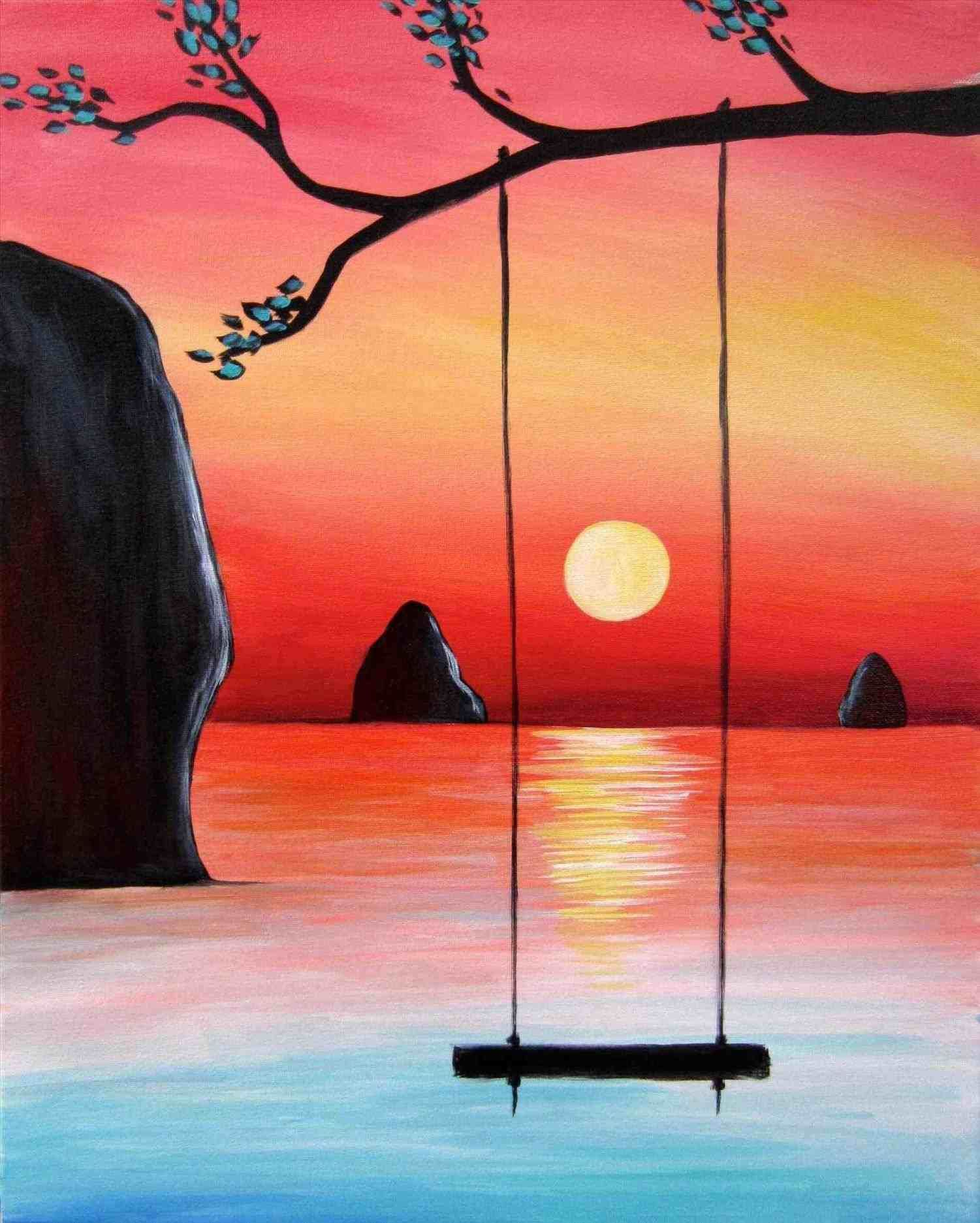 Sunset Simple Easy Landscape Painting Simple Acrylic Paintings