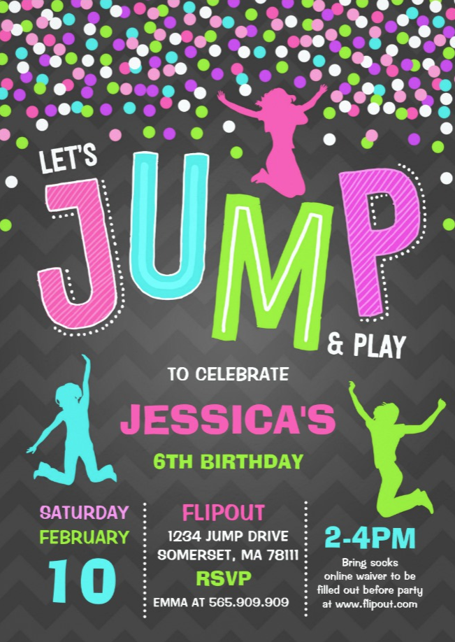 jump birthday invitation jump