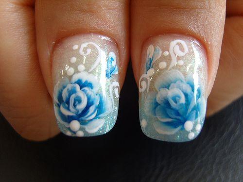 Ss100338 Rose Nails Rose Nail Design Beautiful Nail Designs