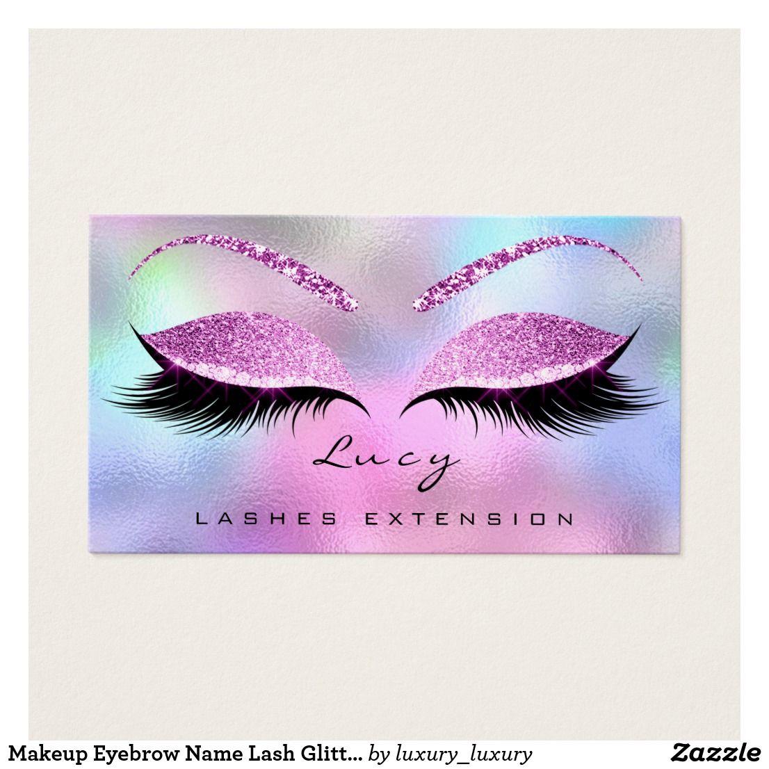 Makeup Eyebrow Name Lash Glitter Pink Purple Business Card
