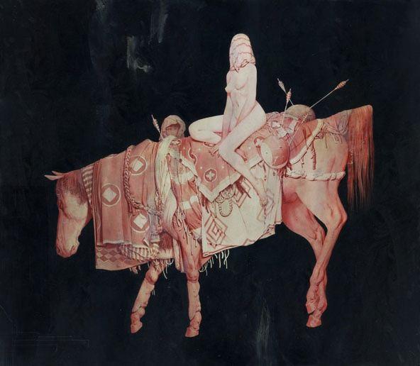 "Artist:  Joao Ruas  (aka)  Feral Kid  ""GODIVA""  Acrylic on Fabriano and Wood  64 x 74 cm  http://www.joaoruas.com/"