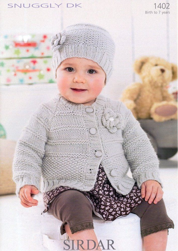 Cardigan & Hat in Sirdar Snuggly DK - 1402 | Baby knitting ...