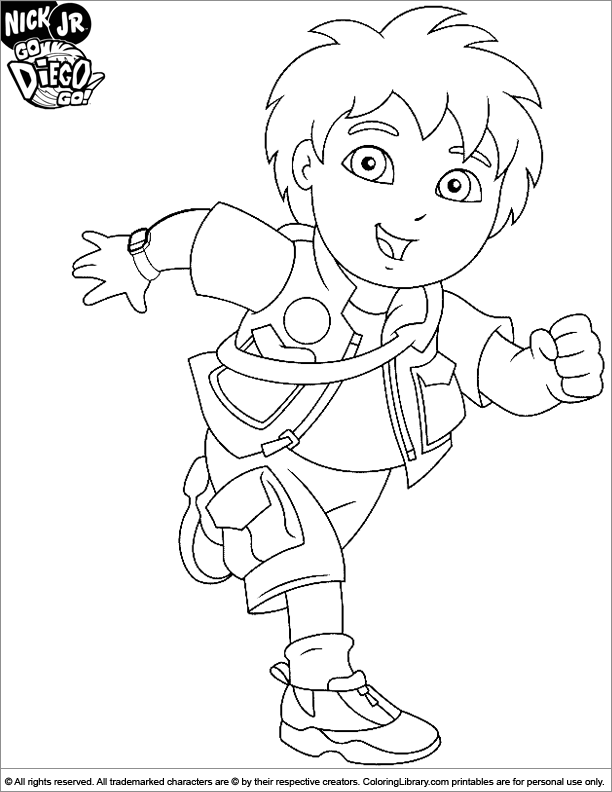 go diego go coloring sheet diego having fun running