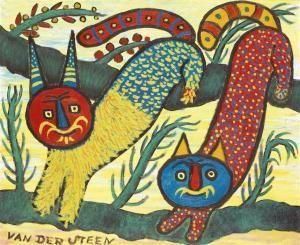 'Les Deux Chats' by French artist Germain Van der Steen (1987-1964). via arcadja