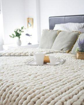 Decke Stricken Tagesdecke Hakeln Grobmaschig Weich Bett Gestalten