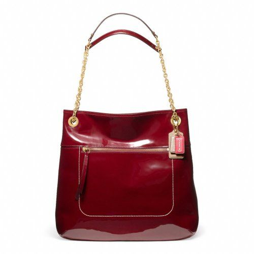 Coach Poppy Patent Leather Slim Tote Handbag Purse Crimson Red 21583