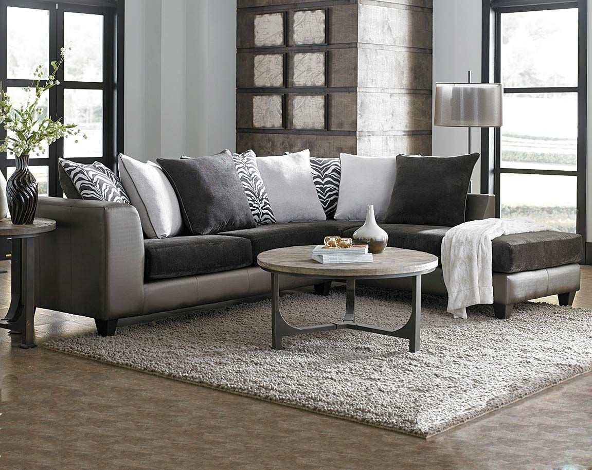 Dark Grey And Metallic Shimmer Magnee Two Piece Sectional Sofa
