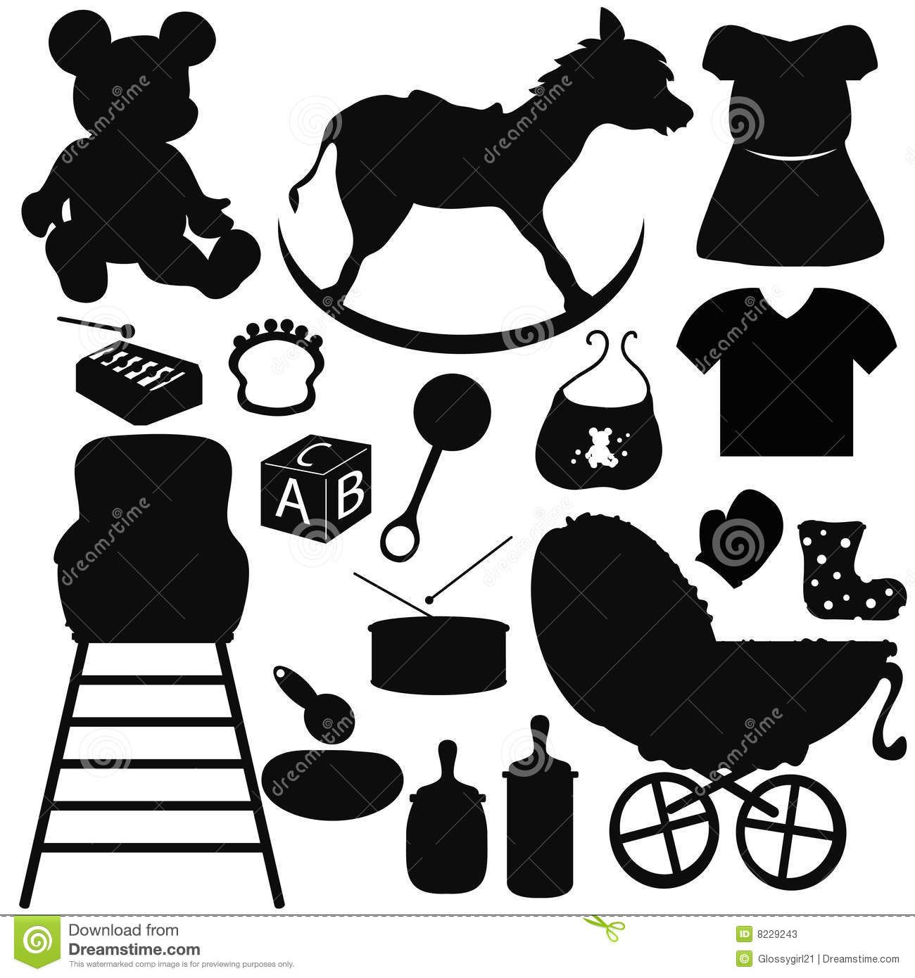 Sillouette Baby Items Baby Silhouettes Items With Isolated