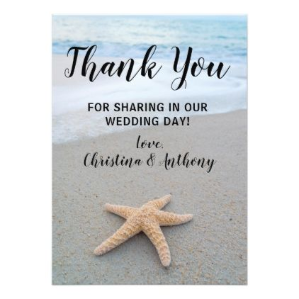 Starfish on the Beach Wedding Thank You Note Card