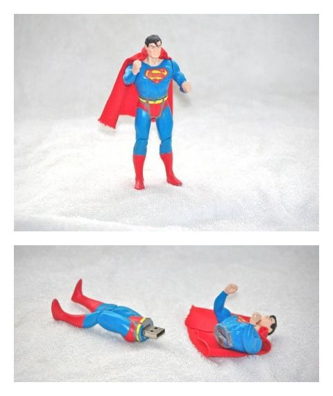 So awesome: flash drives upcycled from vintage Superman action figures