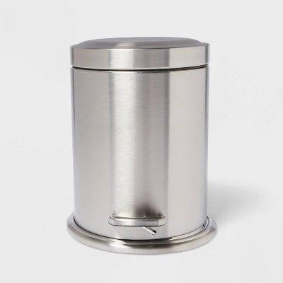 Stepcan Wastebasket Brushed Nickel Threshold In 2020 Bathroom Trash Can Waste Basket Bathroom Accessories