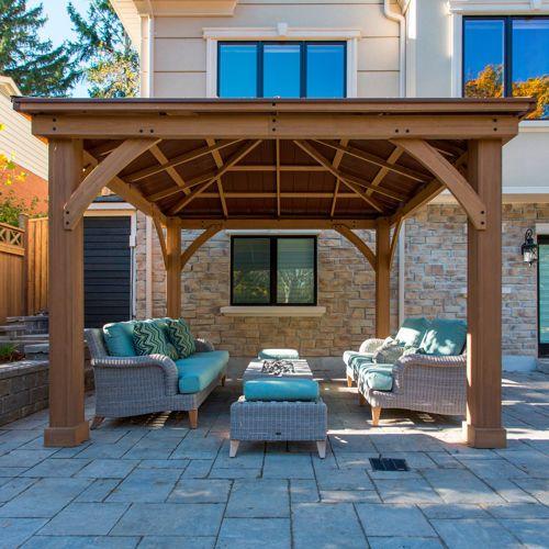 cedar wood 12 39 x 12 39 gazebo with aluminum roof by. Black Bedroom Furniture Sets. Home Design Ideas