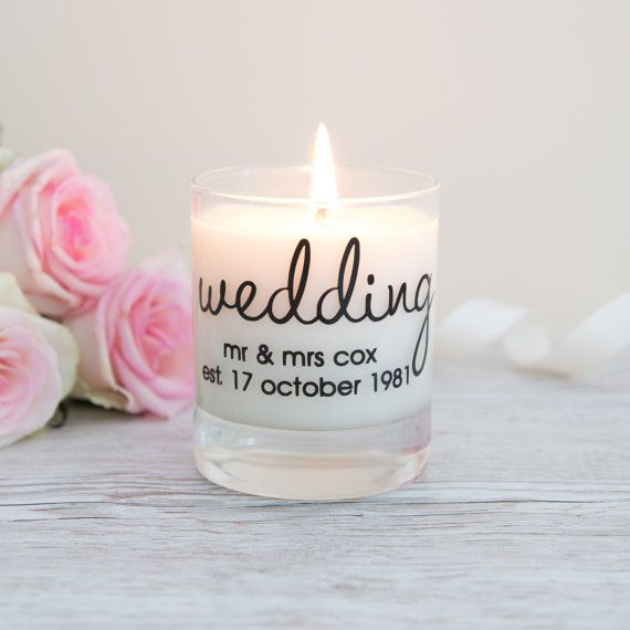 This Personalised Wedding Scented Candle Makes A Gorgeous Gift The Candle Has Personalized Wedding Gifts Personalised Wedding Candles Personalized Wedding