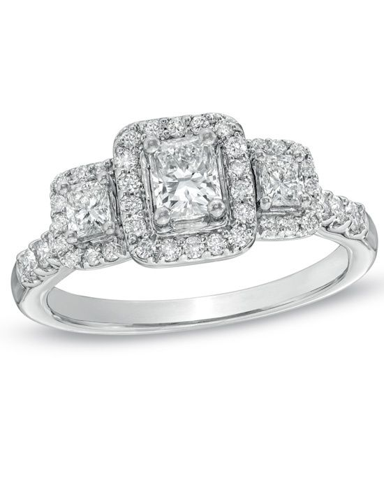 Non Branded 3 Stone Fancy Cuts - 1  CT. T.W.Radiant-Cut  Diamond  3 Stone Halo  Engagement Ring in 14KWhite Gold by Zales // More from Zales: http://www.theknot.com/gallery/wedding-rings/Zales