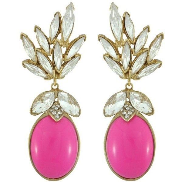 Ciner for Sophie Peony Pink Crystal Leaf Drop Earrings (¥39,955) ❤ liked on Polyvore featuring jewelry, earrings, accessories, earrings jewelry, swarovski crystal earrings, leaf jewelry, 18 karat gold earrings and crystal drop earrings