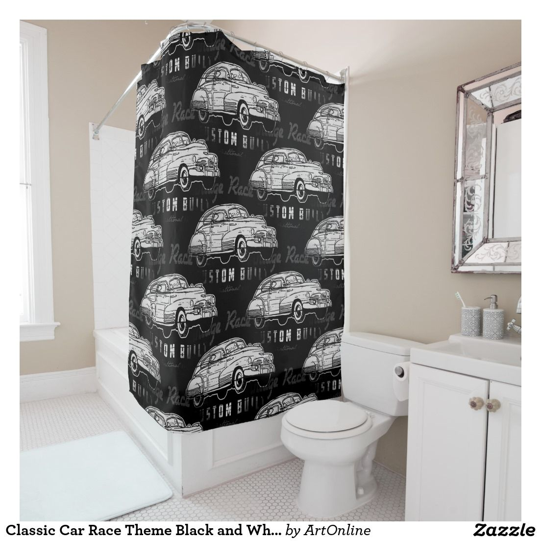 Classic Car Race Theme Black And White Shower Curtain