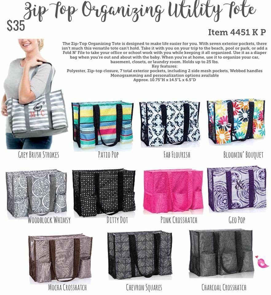 Zip Top Organizing Utility Tote Thirty One Gifts 31 Diaper Bags
