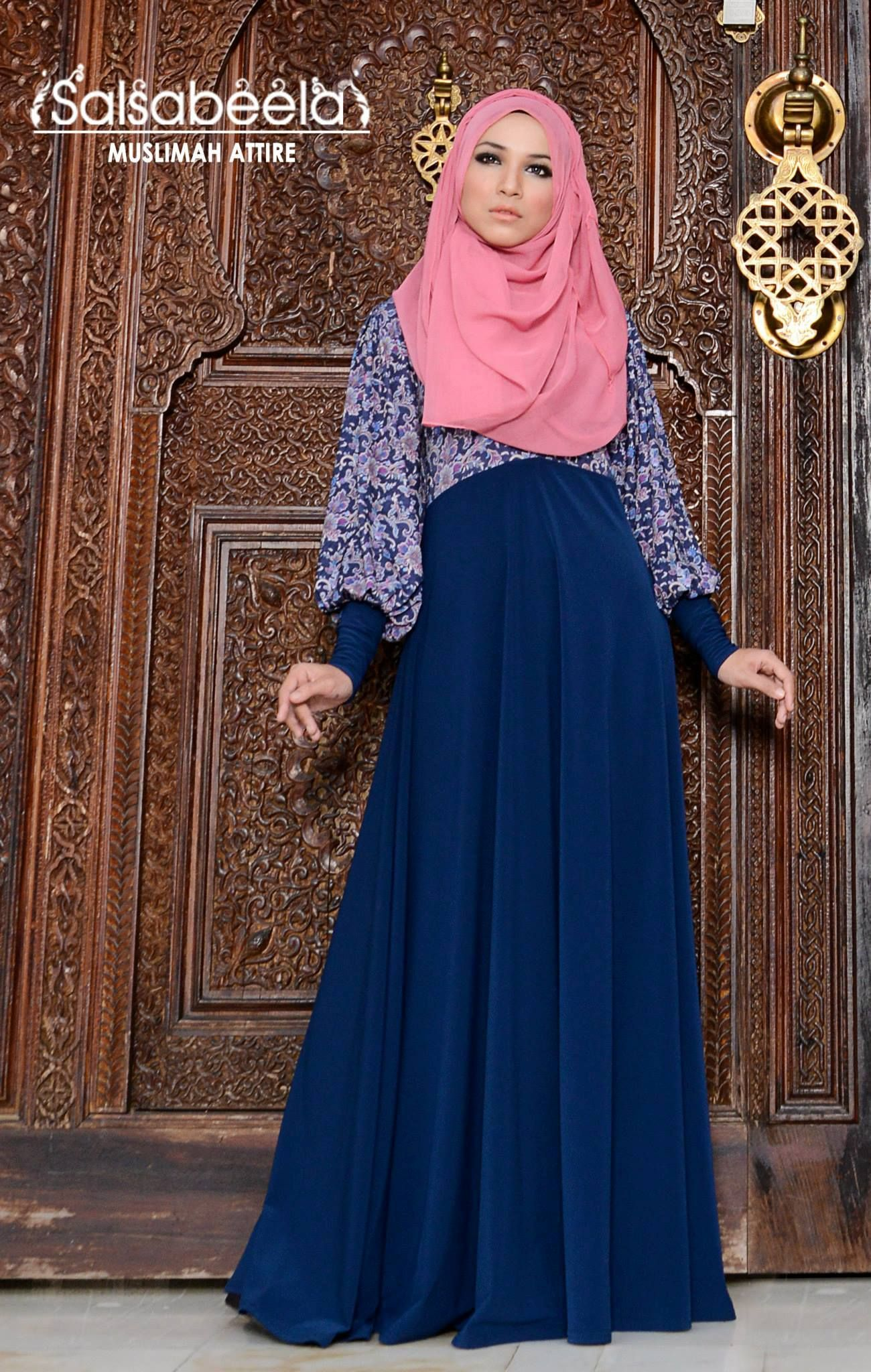 Muslimah Dark Blue Floral Dress Hijabi ️ Princess