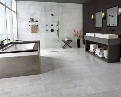 12x24 Offset Wall Tile Wall To Wall White Marble Bathrooms Marble Floor Bathroom Floor Tiles