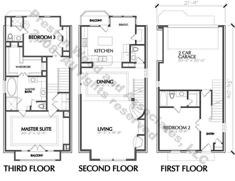 Best townhouse floor plans gurus floor for Townhouse designs and floor plans