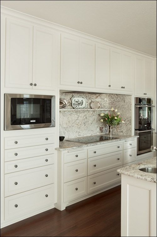 Kitchen Decor · Love The Granite With This Cream Colored Cabinetry.  Placement Of Microwave, Cooktop,