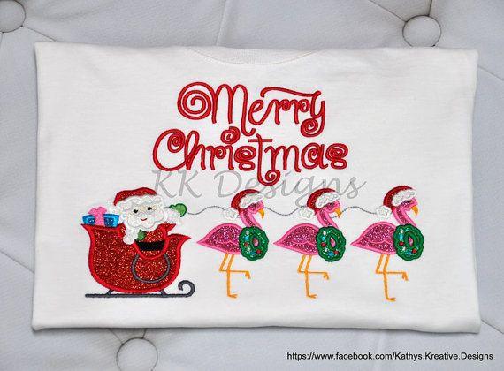 Christmas Flamingo Applique, Pink Flamingo, Christmas In