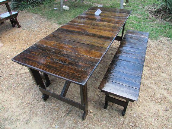 Table Bench Set Reclaimed Wood Dark Walnut Patio Picnic Kitchen Outdoor Barn