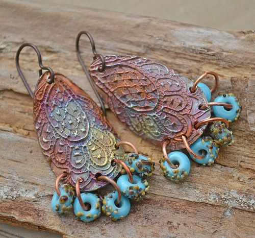 Copper Lace Drops and Turquoise and Raku Lampwork | Flickr - Photo Sharing!