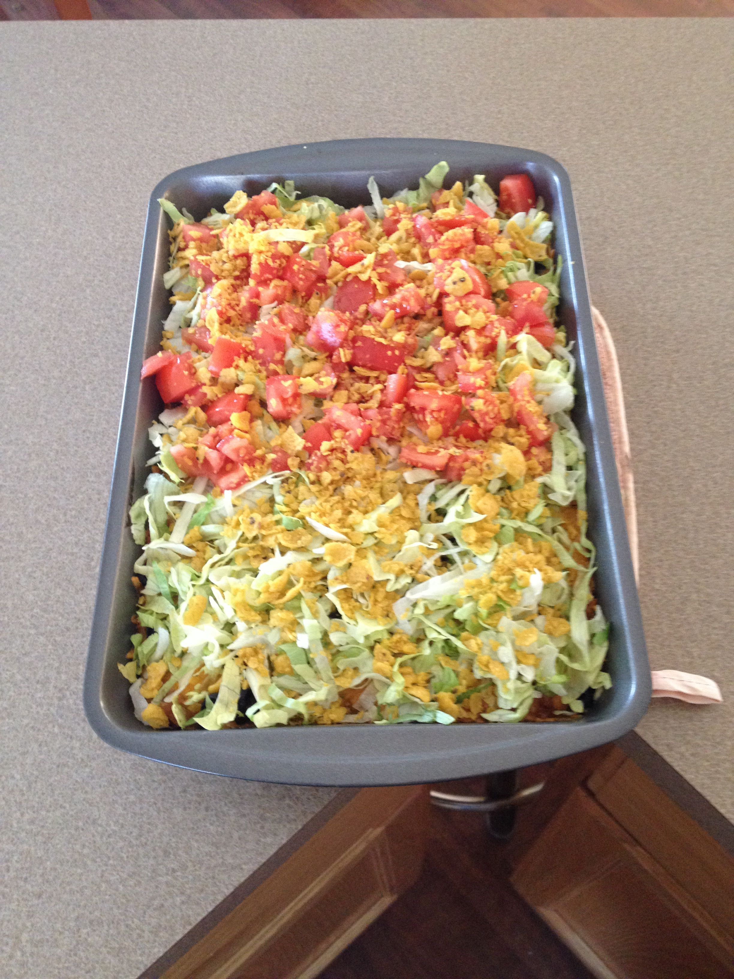 Beef and Bean Taco Casserole for my Mom's birthday 01/26/2014