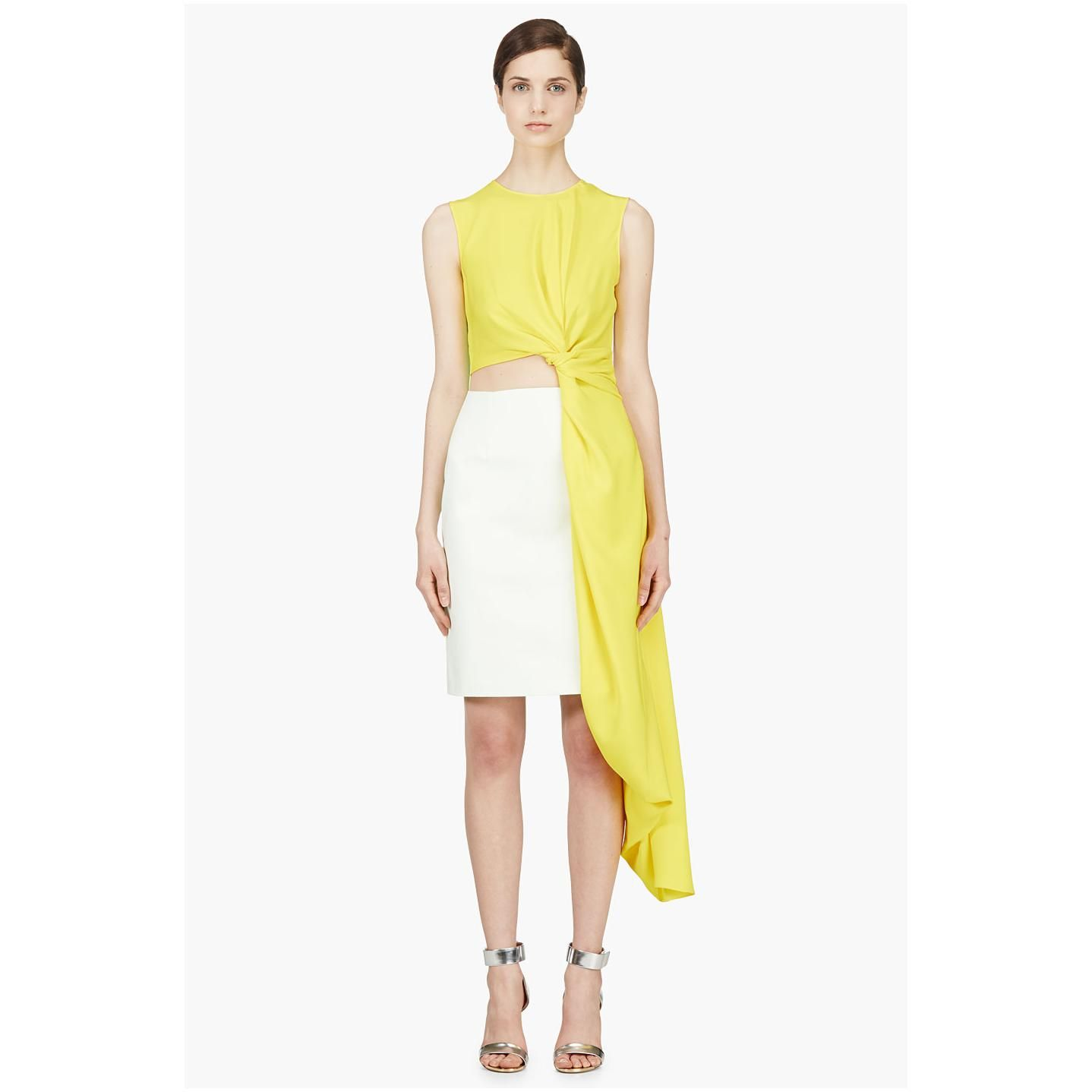 Roksanda ilincic yellow draped colorblock layton dress outfits i
