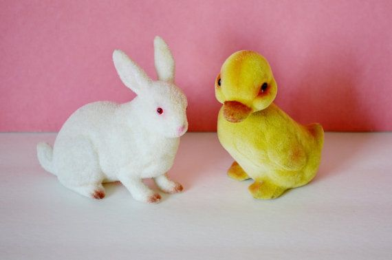 Easter Bunny Baby Duck Flocked Fuzzy by RelicsAndRhinestones