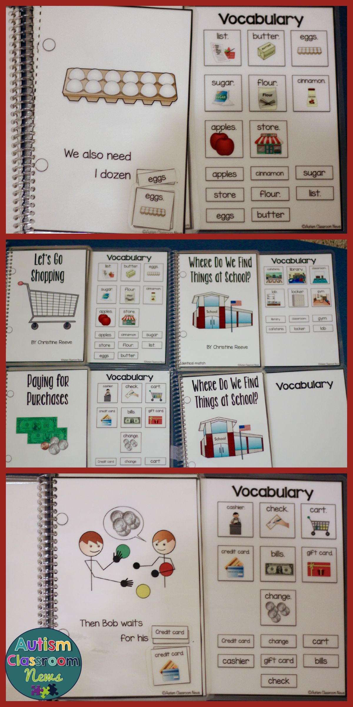 Functional Interactive Adapted Books Shopping Amp School Special Education