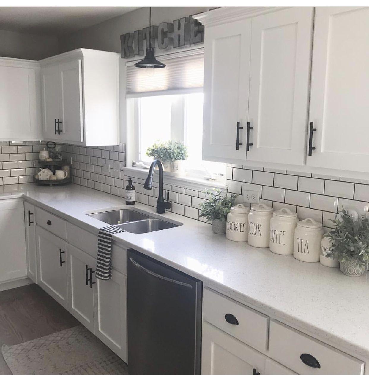 White Kitchen Cabinets With Black Hardware: White Cabinets + Black Hardware.