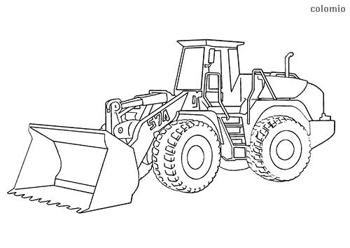 Dibujo De Tractor Pala Para Colorear Coche De Bomberos Colores Dibujos Para Colorear